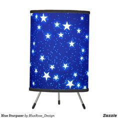 Blue Stargazer Tripod Lamp Decorative Lamps, Linen Lamp Shades, Incandescent Light Bulb, Stargazer, Tripod Lamp, Rice Paper, Christmas Card Holders, Colorful Backgrounds, Table Lamp