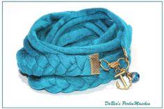 Wickelarmband petrolblau von DaBea's PerlenMaschen auf DaWanda.com