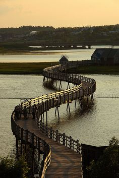 Boardwalk in the small town of Bouctouche, New Brunswick, Canada