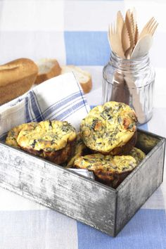 Individual Silverbeet Frittatas Make and take breakfast! Light Recipes, Egg Recipes, Cooking Recipes, Chard Recipes, Spinach Recipes, Savoury Recipes, Breakfast On The Go, Sweet Breakfast