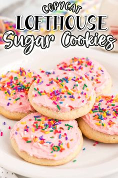 Lofthouse Cookies on a white plate with sprinkles and pink frosting Soft Frosted Sugar Cookies, Sugar Cookie Frosting, Sprinkle Cookies, Sugar Cookies Recipe, Pink Frosting, Swig Cookies, Lofthouse Sugar Cookies, Candy Recipes