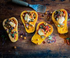 Butternut pumpkin with chickpea stuffing and goat's cheese By Nadia Lim