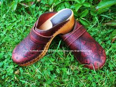 Red Leather Clogs, size 11 womens, OOAK with pyrographed designs, on etsy.  www.etsy.com/shop/behennaed  www.facebook.com/behennaed