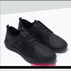 Zara Black Rubber Shoes Trainers❤️ Zara Black Rubber Shoes Trainers -- Unique detailing. Mesh details. Sleek black. New in box Zara Shoes