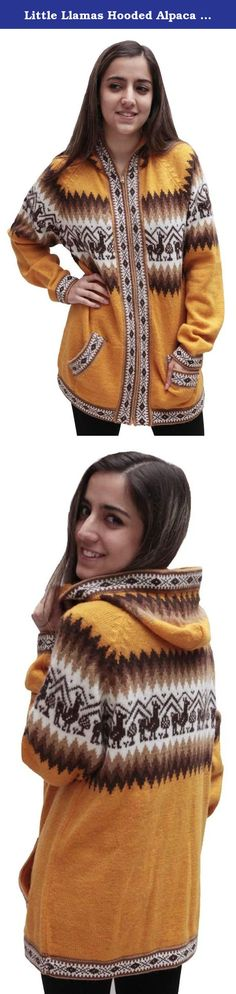 Little Llamas Hooded Alpaca Wool Knitted Jacket Hoodie Sweater (Medium, Gold). This is a brand new hooded alpaca wool jacket, handmade in Peru. It features a gorgeous andean llamas design in a beautiful color combination. Alpaca is considered one of the worlds few luxury fibers due to its unique properties of softness, luster, lightness, durability, & warmth. No other animal fiber combines ALL of these properties. Alpaca is also considered a specialty fiber as less alpaca fiber is…