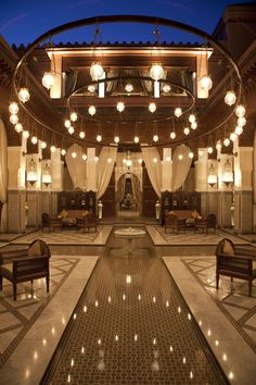 The peace is broken only by trickling water in the #lobby of the #RoyalMansour.