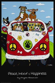 Buyartforless Peace Woof and Happiness by Angela Alexander Art Print Poster Dog Lovers Humor Retro Pop Style VW Beetle Rolled to Arrive in Perfect condition Paper Size Image Size: Illustration Photo, Illustrations, I Love Dogs, Cute Dogs, Image Chat, Dog Poster, Boxer Puppies, Retro Pop, Retro Style