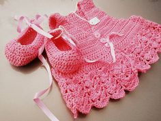 Crocheted baby ballerinas & Cardigan by LooplaCrochet on Etsy