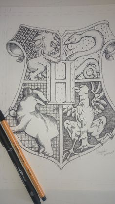 Hogwarts Coat of Arms in Pointillism . - Hogwarts Coat of Arms in Pointillism Potter - Harry Potter Tumblr, Harry Potter Anime, Harry Potter Diy, Harry Potter Sketch, Harry Potter Images, Pintura Do Harry Potter, Harry Potter Painting, Harry Potter Artwork, Harry Potter Drawings