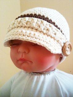 Free Crochet Baby Hat Patterns   Crocheted Baby Newsboy Hat