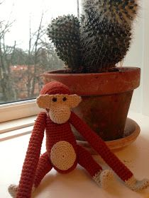 byoestergaard: Hæklet abe Hygge, Abe, Knit Crochet, Planter Pots, Teddy Bear, Fancy, Embroidery, Dolls, Christmas Ornaments