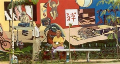 Painted wall in a park, Vedado