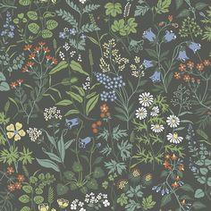Flora Charcoal wallpaper by Boråstapeter