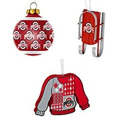 NCAA Ohio State Buckeyes Repeat Glass Ball Christmas Ornament Sled Foam Ugly Sweater Bundle 3 Pack By Forever Collectibles