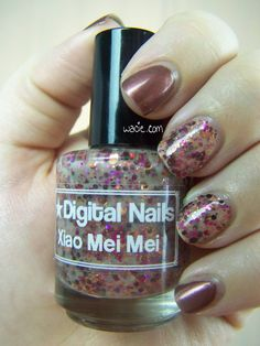 Neutrals and Glitter: Sally Hansen's Natural Sienna and Digital Nails's Xiao Mei Mei