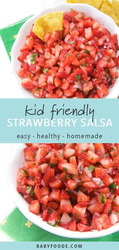 This fast and easy five ingredient Strawberry Salsa will be a huge hit for all of your summer parties! Cookout Side Dishes, Party Side Dishes, Dinner Side Dishes, Summer Side Dishes, Potluck Dishes, Dinner Sides, Side Dishes Easy, Pool Snacks, Party Snacks