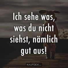Ich sehe was, was du nicht siehst, nämlich gut aus! Funny As Hell, The Funny, Word Pictures, Funny Pictures, Jokes Quotes, Funny Quotes, Satire, True Words, Sarcasm