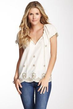 Embroidered Scallop Hem Blouse by Chaudry on @HauteLook