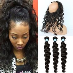 360 Lace Frontal Closure With Bundles Pre Plucked Lace Frontal Weave Loose Wave Curly Peruvian Virgin Hair With Frontal Closure *** Be sure to check out this awesome product.