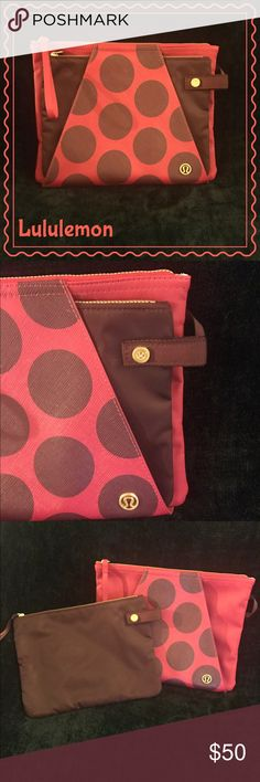 Lululemon beautiful double zipper bag NWT Lululemon double bag set. Clip together or use separate. Both bags have motivational quotes on the inside and additional small pockets. Great for a gym bag. lululemon athletica Bags Cosmetic Bags & Cases