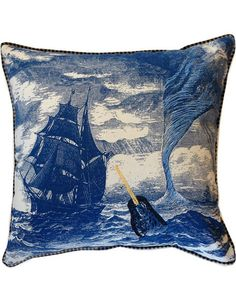 Nautical Narwhal Throw Pillow