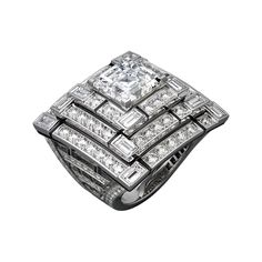 CARTIER. Ring - platinum, one 6.03 carat square-shaped diamond, black lacquer, calibrated diamonds, brilliant-cut diamonds. #Cartier #CartierRoyal #2014 #HauteJoaillerie #HighJewellery #FineJewelry #Diamond