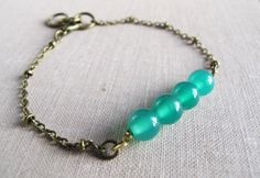Green Agate Bracelet Small Agate Beads Antique by WildAngelLove