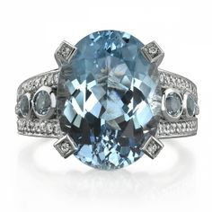 Omi Prive: Aquamarine and Diamond Ring Style: R1118