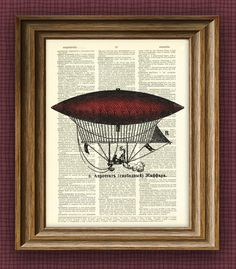 red DIRIGIBLE Aerostat illustration beautifully by collageOrama, $7.99