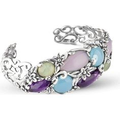 Carolyn Pollack 925 Sterling Multi-Gemstone Floral Pastel Cuff Bracelet Fill your day with this sterling silver multi gemstones in multi pastel colors open bangle bracelet. This stunning color gemstones bracelet by Carolyn Pollack is a sensational way to wear multi-color jewelry and add a girly touch to any ensemble. Luscious genuine gemstones of green prehnite blue and pink chalcedony and purple amethyst gemstones create a combination that will breathe new life into your wardrobe. Measuring…