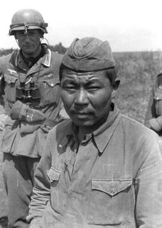 "Summer 1941, Russia. Soviet POW from the USSR's eastern republics. The Germans were surprised at the mass presence of ""Asiatics"" and ""Mongols"" in Red Army ranks. These crowds of ""subhumans"" increased the Germans' detesting the ""savage mobs of Russia."""