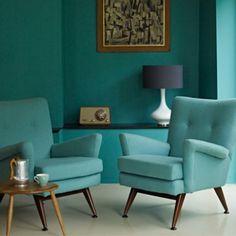 Mrs Peabod - A designers Inspiration board: Mid-Century home decor design aqua teal turquoise