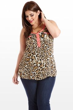 Plus Size She's All Cat Sheer Animal Print Tank Top