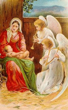 Mary holding Baby Jesus as two angels look on with instruments