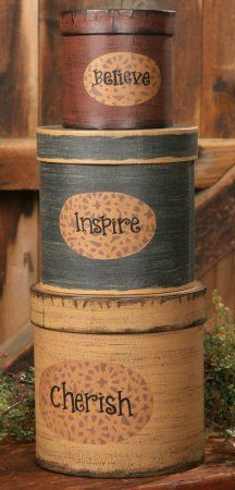 "3 Round Nesting Boxes - Believe, Inspire, Cherish - Medium Large 19"" High When Stacked - Perfect for Primitive Country Home Decor by Your Hearts Desire. $21.95. Perfect for Primitive Country decorating. Stack 19"". Believe, Inspire, Cherish. These beautifully decorated nesting boxes will be sure to please.    These boxes feature the words ""Believe, Inspire, Cherish""  These medium / large round  boxes stack  19 ""H.  Larges box is 8""H x 7 3/4""W.    Great for gift giv..."