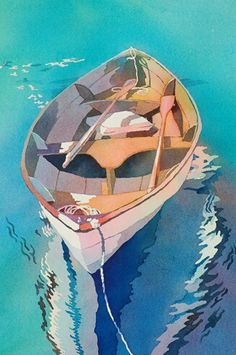 Wooden Boat II, a watercolor painting by Nancy Orme Mysak Art Aquarelle, Watercolor Paintings, Watercolors, Boat Painting, Painting & Drawing, Art And Illustration, Boat Art, Guache, Watercolor Techniques