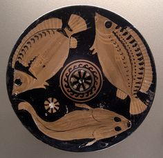 Greek Apulian Plate. ca. 350-325 B.C. The Attic plate was painted with fish it was intended to serve.