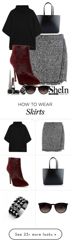 """""""Fringe Skirt with SheIn"""" by thesouthafricanbelle on Polyvore featuring Yves Saint Laurent, Alice + Olivia, Sam Edelman, Waterford, Ray-Ban, Butter London and Christian Louboutin"""