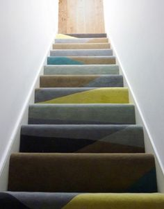 Bespoke stair runner rug inspired by the Dazzle pattern that was painted onto WWII ships to disguise them from German U boats.