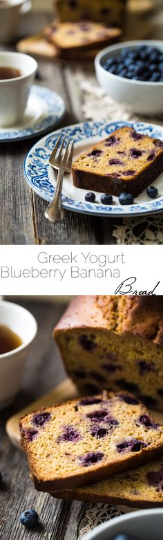 Whole Wheat Banana Bread with Blueberries - No refined sugar, no oil and made with Greek yogurt! This bread is SO healthy and SO easy! Great for breakfast or as a snack. Baking Recipes, Real Food Recipes, Snack Recipes, Dessert Recipes, Yummy Food, Snacks, Healthy Recipes, Bread Recipes, Breakfast Recipes