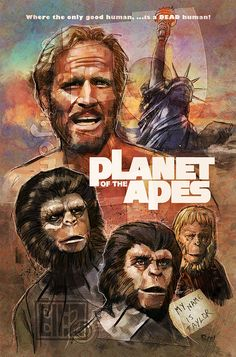 One of my all time favorites, the original Planet of the Apes! Planet of the Apes Best Movie Posters, Classic Movie Posters, Cool Posters, Classic Movies, Science Fiction, Fiction Movies, Pierre Boulle, Mejores Series Tv, Robot Cartoon