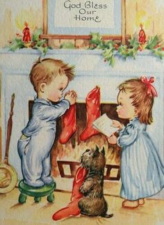 Unused Children Scottie Dog Hang Their Stockings Vintage Christmas Card 1598