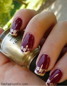Image result for indian bridal nails gold and red