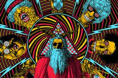 Home page of The Warlocks, a rock group from Los Angeles. Formed in America during The Warlocks produce a relentless, hypnotic wall of sound that suggests a collision between classic psychedelia, Krautrock and Velvet Underground style rock and Psychedelic Art, Art And Illustration, Art Hippie, Dope Kunst, Art Visionnaire, Pop Art, Illustrator, Acid Art, Kunst Poster