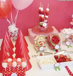 Love the polka dots and the candy jars.  Sweetly Sweet: Sweet Parties: Sweet Strawberry Party by Julie