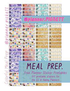 free pretty pattern meal plan , meal prep, functional cute , printable planner sticker , diy stickers