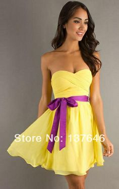 Cheap Sexy Short/Mini Yellow Chiffon Homecoming Dress 8th Grade Graduation Dresses 2014 with Sash US $79.99