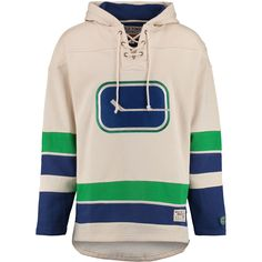 Men's Vancouver Canucks Old Time Hockey Tan Lacer Heavyweight Pullover Hoodie