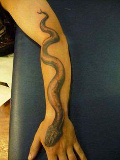 Full cobra design tattoo on sleeve