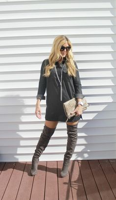 Outfitted411: Grayscale...shirt dress, OTK over-the-knee boots, leopard clutch, fall fashion